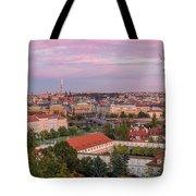 Prague Skyline At Sunset Tote Bag