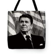 President Ronald Reagan Speaking - 1982 Tote Bag