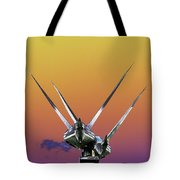Psychedelic Metal Sculpture Of Two Swans Flying Tote Bag
