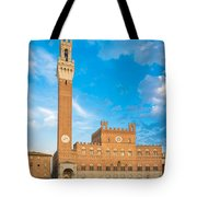 Public Palace With The Torre Del Mangia In Siena, Tuscany Tote Bag