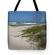 Railroad Vine And Sea Oats On The Atlantic In Florida Tote Bag