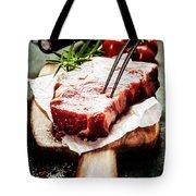 Raw Beef Steak And Wine Tote Bag