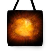 Realistic Fire Explosion, Orange Color With Sparks Isolated On Black Background Tote Bag