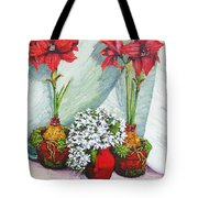 Red Amaryllis With Shooting Star Hydrangea Tote Bag
