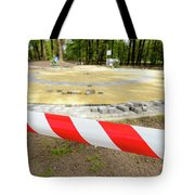 Red And White Barricade Tape Tote Bag