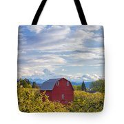 Red Barn And Mt Hood Tote Bag