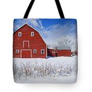 Red Barn, Winter, Grande Pointe Tote Bag