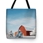 Red Barn With Snow Tote Bag