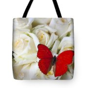 Red Butterfly On White Roses Tote Bag