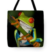 Red-eyed Green Tree Frog Hanging On Tote Bag