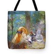 Red-haired Girl Sitting On A Veranda Tote Bag