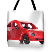 Red Retro Wooden Toy Car Isolated On White Background Tote Bag