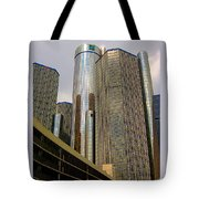 Renaissance Center In Detroit Tote Bag by Guy Ricketts