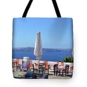 Restaurant By The Aegean Sea  In Santorini, Greece  Tote Bag