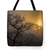 Rime Ice And Fog At Sunset - Telephoto Tote Bag
