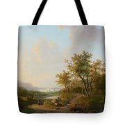 River Landscape With Views Of A Castle And Town Tote Bag