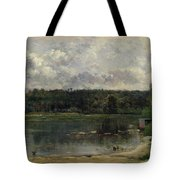 River Scene With Ducks Tote Bag