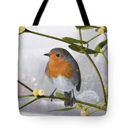 Robin On Mistletoe Tote Bag