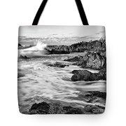 Rocky Asilomar Beach In Monterey Bay At Sunset. Tote Bag