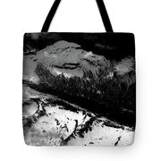 Rocky Mountains In Colorado With Snow Aerial Black And White Tote Bag