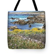 Rocky Surf With Wildflowers Tote Bag