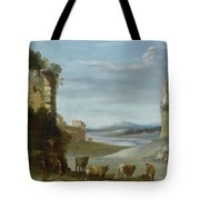 Roman Landscape With Ruins Tote Bag
