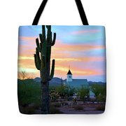 Saguaro Cactus And Church Tote Bag