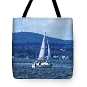 Sail Boat On The Hudson River Tote Bag