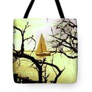 Sailboat Golden Sunset Tote Bag