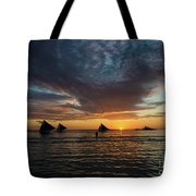 Sailing Boats At Sunset Boracay Tropical Island Philippines Tote Bag