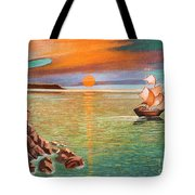 Sailing Ship And Castle Tote Bag