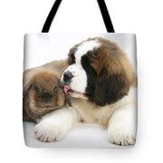Saint Bernard Puppy With Rabbit Tote Bag