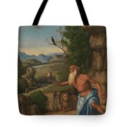 Saint Jerome In A Landscape Tote Bag