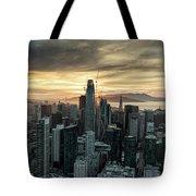 San Francisco City Skyline At Sunset Aerial Tote Bag