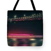 San Francisco Patry Ferry Casino Near Oakland Bay Bridge At Nigh Tote Bag
