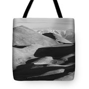 Monochrome Sand Dunes And Rocky Mountains Panorama Tote Bag