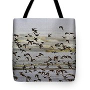 Sand Pipers In Flight Tote Bag