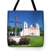Santa Barbara Mission And Cross Tote Bag