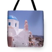 Santorini Oia Blue Domed Church Tote Bag