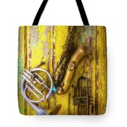 Sax French Horn And Trumpet Tote Bag