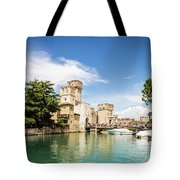 Scaligero Castle At The Entrence Of The Sirmione Medieval Town Tote Bag