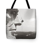 Scaling Mount Rushmore Tote Bag