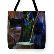 Scary Old Witch With A Cauldron Tote Bag