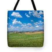 Scenic Tuscany Landscape With Rolling Hills In Val D'orcia, Ital Tote Bag