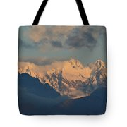 Scenic View Of The Dolomites Mountains With A Cloudy Sky  Tote Bag