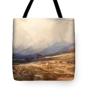 Scottish Landscape With Drover And Cattle Tote Bag