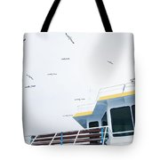 Seagulls Over Ferry Boat Tote Bag