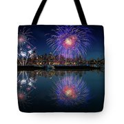 Seattle Skyline And Fireworks Tote Bag