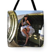 Sexy 1940s Style Pin-up Girl Standing Tote Bag