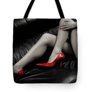 Sexy Long Legs In Red High Heels Tote Bag